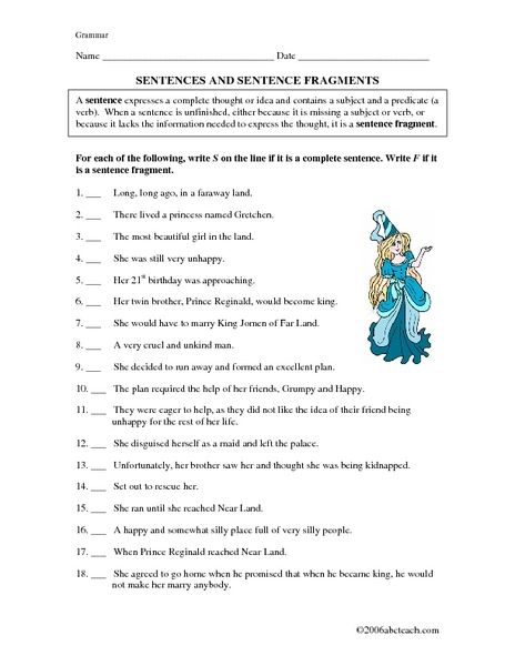 Printables Sentence Fragment Worksheet sentences and sentence fragments 5th 7th grade worksheet lesson planet