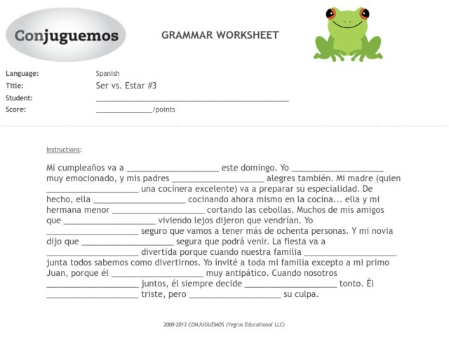 Worksheets Ser Vs Estar Worksheet ser vs estar 3 6th 9th grade worksheet lesson planet