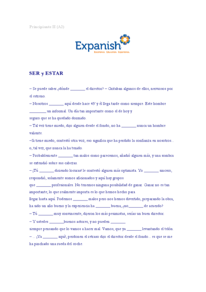 Worksheets Ser Y Estar Worksheet ser y estar 9th grade worksheet lesson planet
