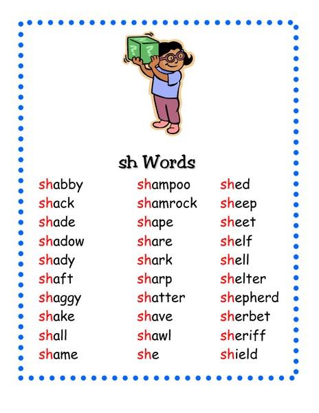 "Sh"" Words Pre-K - 2nd Grade Worksheet | Lesson Planet"