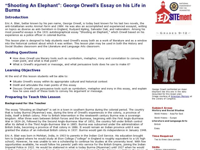 notes on shooting an elephant Shooting an elephant has 6,522 ratings and 232 reviews petra x said: the end of the empire came when those who had previously given up their arms and al.