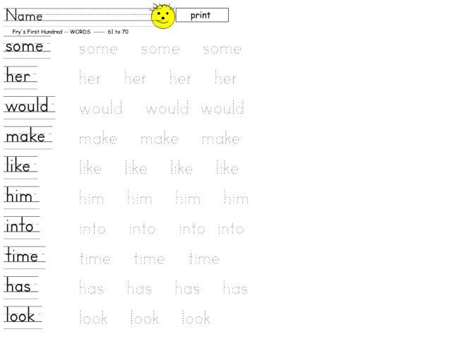 Sight Words: Printing Practice 10 Pre-K - 1st Grade Worksheet ...