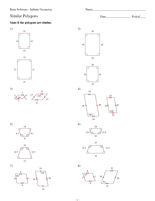 Printables Similar Polygons Worksheet homework help with determining similar polygons identify congruent worksheet intrepidpath th grade worksheets