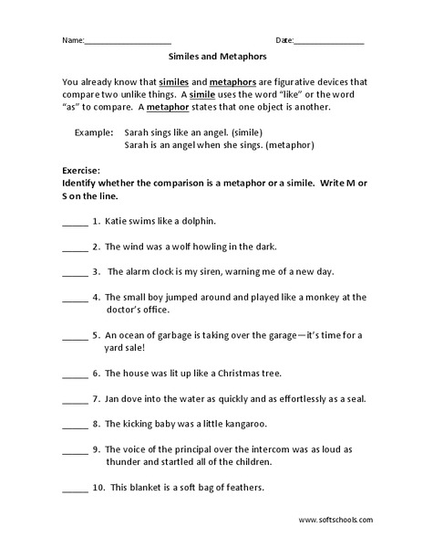 Simile And Metaphor Worksheets For 5th Grade - Sheets
