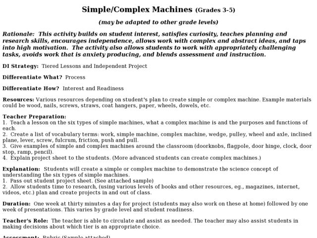 Worksheet Compound Machines Worksheet simplecomplex machines 3rd 5th grade lesson plan planet