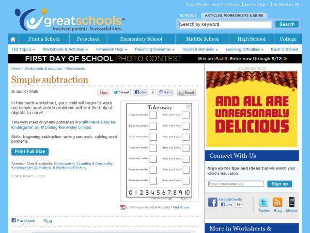 Common Worksheets take away worksheet : Simple Subtraction ~ Take Away Kindergarten Worksheet | Lesson Planet