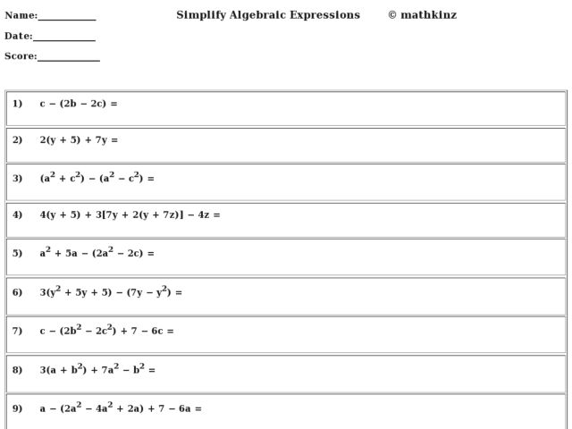 Algebraic expressions worksheets for grade 6