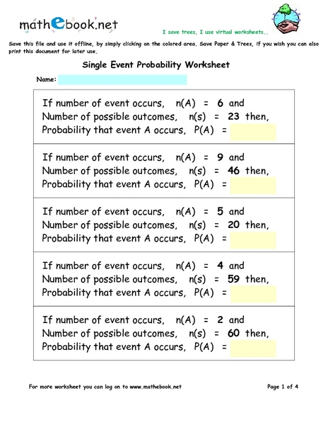 Collection of Compound Events Probability Worksheet ...