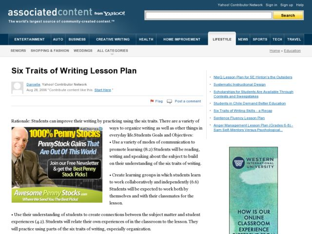 6 traits of writing lesson plans Elementary - jackson - lesson plans elementary - jackson - go to lesson plans elementary - jackson - lesson plans - anderson writing using the 6 traits of writing convention resources upper elementary lessons: conventions.