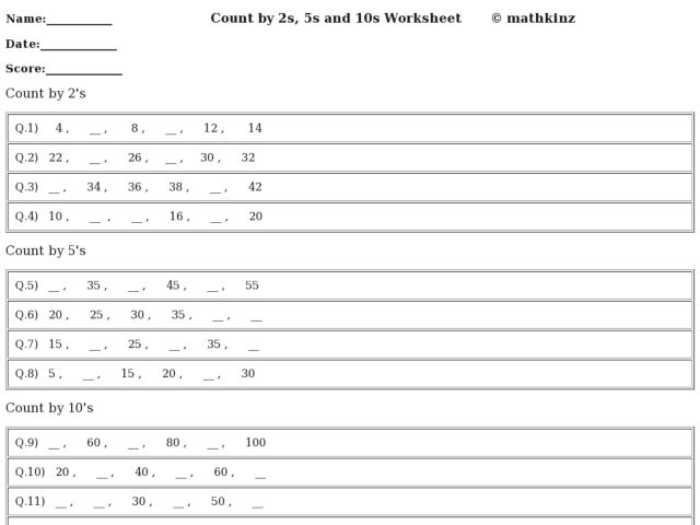 Skip Counting By 2s 5s And 10s Worksheets - Laptuoso