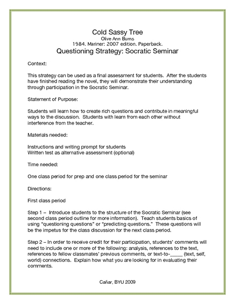 Can someone do my essay cold sassy tree by olive ann burns for Socratic seminar lesson plan template