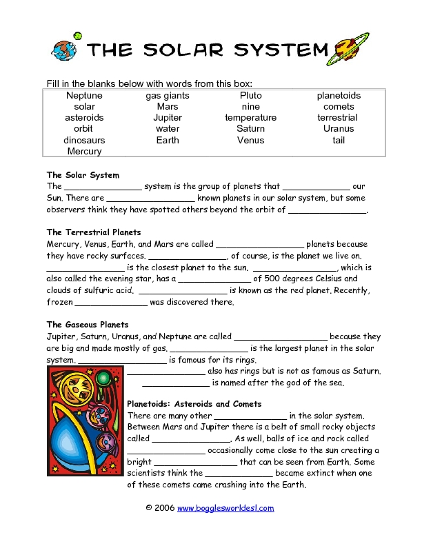 second grade solar system worksheets - photo #23