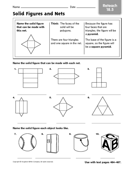 Solid Figures and Nets 4th - 6th Grade Worksheet | Lesson Planet