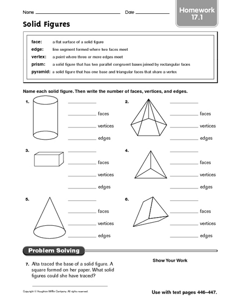 Worksheets Faces Edges And Vertices Worksheet solid figures homework 17 1 4th 5th grade worksheet lesson planet