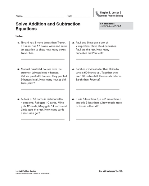 math worksheet : solve addition and subtraction equations 4th  6th grade worksheet  : Solving Addition And Subtraction Equations Worksheet