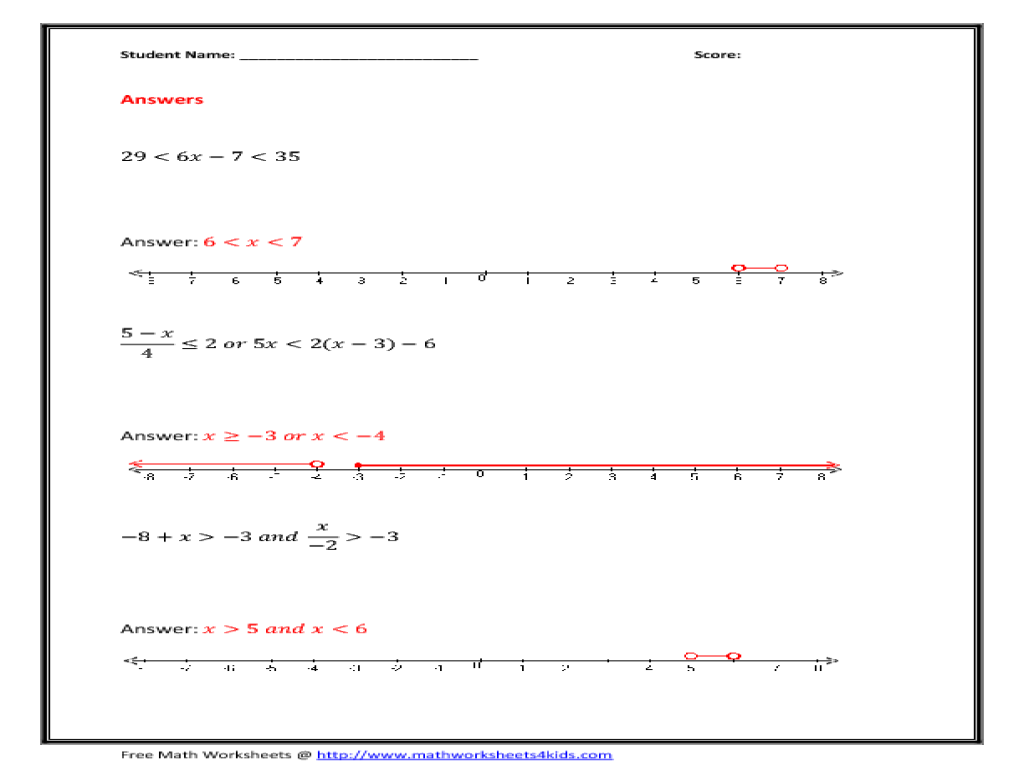 Printables Solve And Graph Inequalities Worksheet solve and graph compound inequalities 9th 10th grade worksheet lesson planet