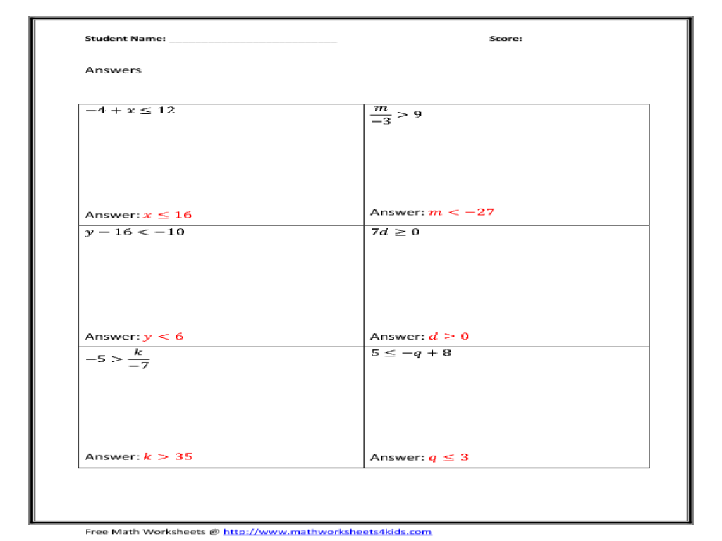Solving Equations By Adding Or Subtracting Worksheets Answers - free 5th grade math ...