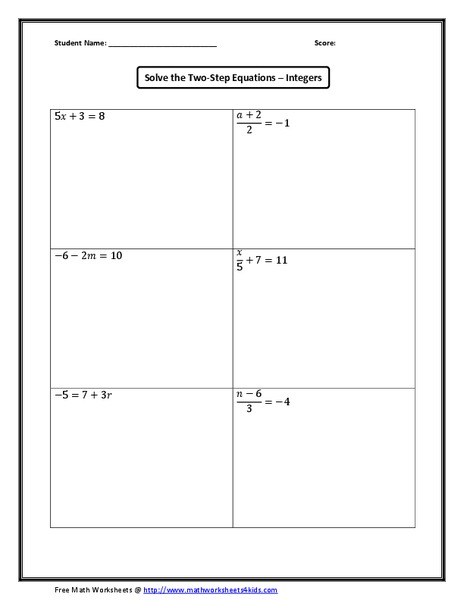 Solve the Two-Step Equations – Integers 5th - 8th Grade Worksheet ...