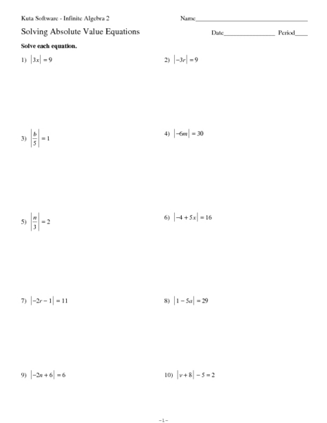Printables Solving Absolute Value Equations Worksheet algebra 1 absolute value inequalities worksheets intrepidpath equations and worksheet