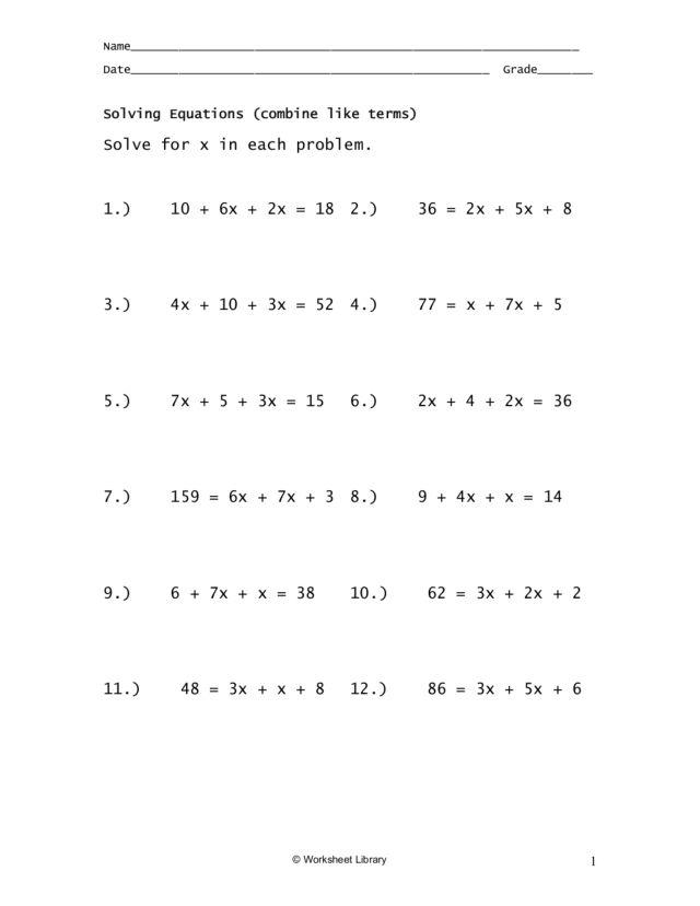 Multiple Step Equations Worksheet – 10th Step Worksheet