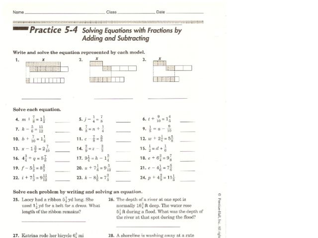 math worksheet : solving equations with fractions by adding and subtracting 7th  : Solving Equations By Adding Or Subtracting Worksheets