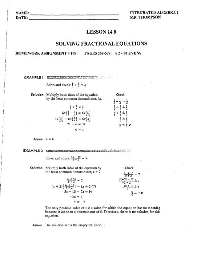 Worksheets Solving Fractional Equations Worksheet solving fractional equations 9th grade worksheet lesson planet