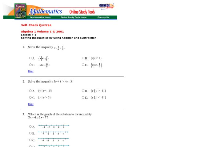 math worksheet : solving inequalities by using addition and subtraction 7th  10th  : Using Addition To Subtract Worksheets