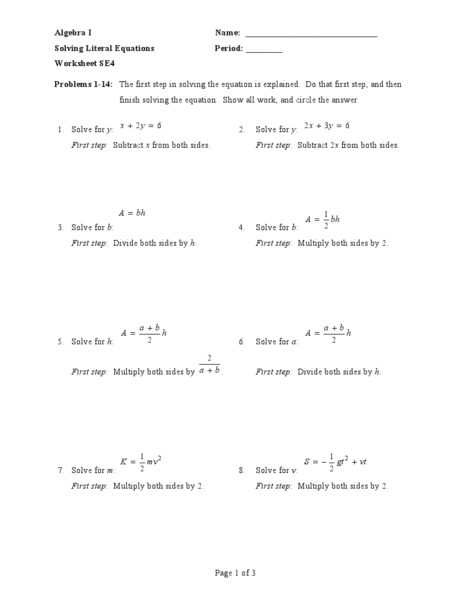 Printables Literal Equations Worksheet algebra 1 solving literal equations worksheet intrepidpath intrepidpath