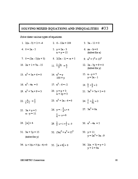 Printables Solving Linear Equations Worksheet solving linear inequalities worksheet precommunity printables worksheets mixed equations and 33 10th 11th grade lesson