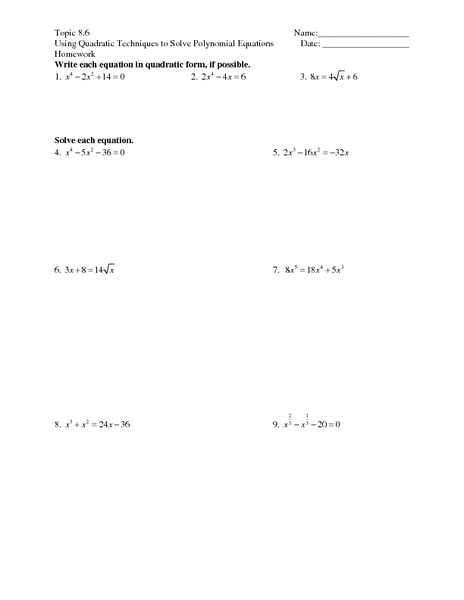 Factoring polynomials worksheet 13 2 answers