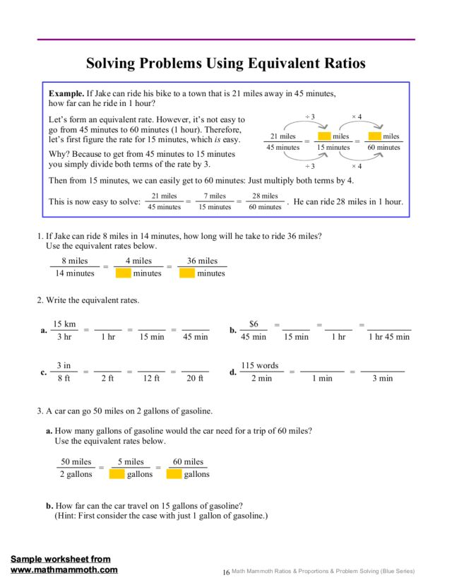 Solving Problems Using Equivalent Ratios 7th 12th Grade – Rates and Ratios Worksheets