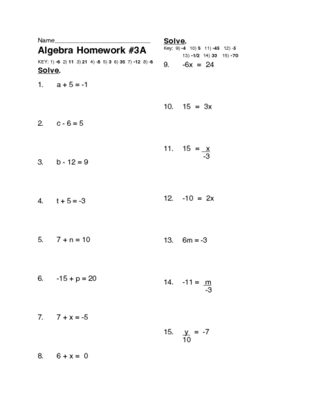 Simple algebra worksheets 5th grade