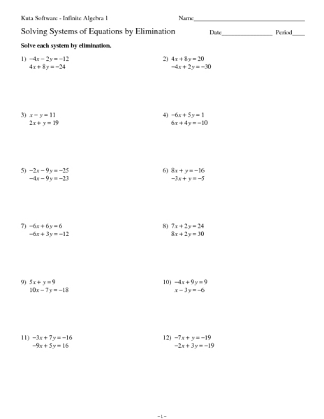 Printables Solving Systems By Elimination Worksheet solve by elimination worksheet davezan solving systems of equation 9th 10th grade