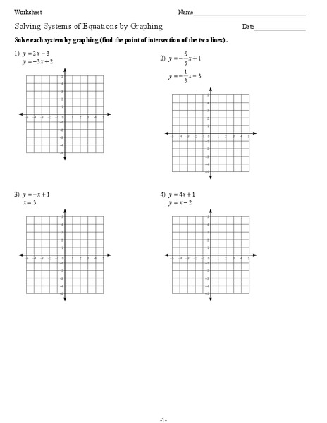 Worksheet Graphing Linear Equations Worksheets solving systems of equations by graphing 9th grade worksheet lesson planet