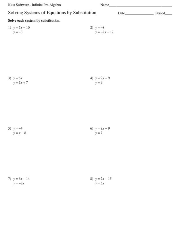 Printables Substitution Worksheet solving systems of equations by substitution 9th 11th grade worksheet lesson planet