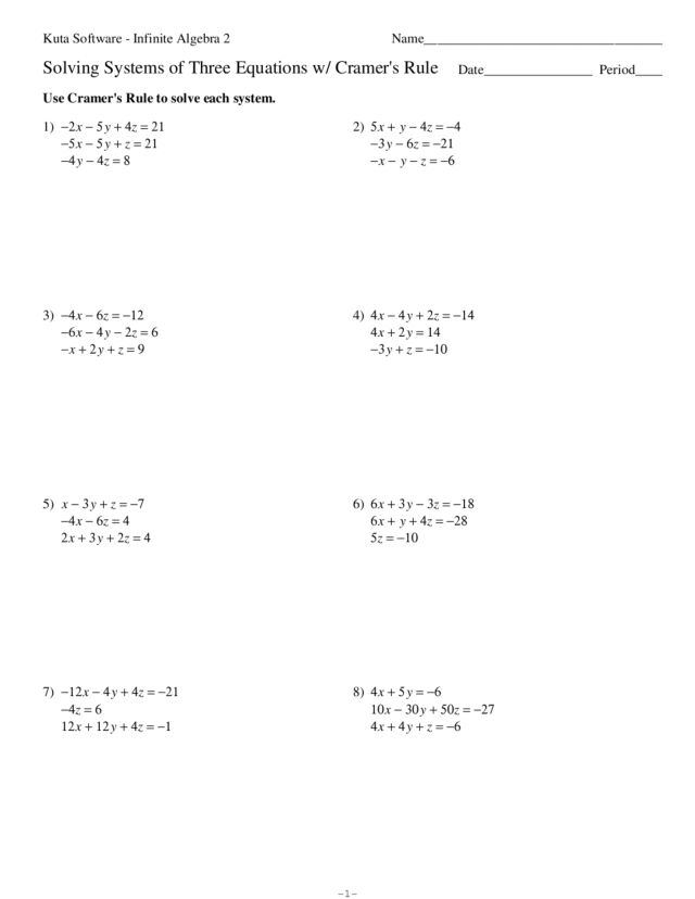 Worksheet Solving Systems Of Equations By Elimination Worksheet solving systems of three equations with cramers rule 10th 12th grade worksheet lesson planet