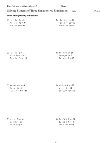 Worksheets Solving Systems By Elimination Worksheet solving systems of three equations with elimination 9th 12th grade worksheet lesson planet