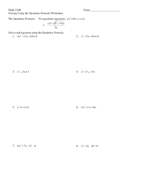 Solving using the quadratic formula worksheet worksheet