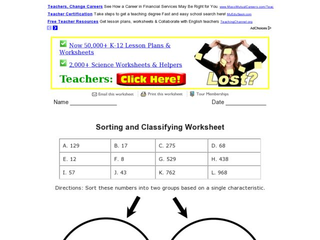 Worksheets Classifying Numbers Worksheet sorting and classifying numbers 3rd 4th grade worksheet lesson planet