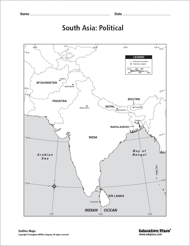 South Asia: Political Map 6th - 12th Grade Worksheet   Lesson Planet