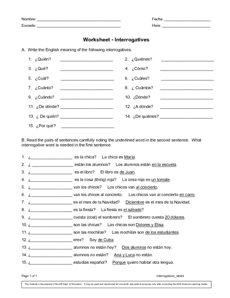Worksheets Spanish Worksheet Answers spanish interrogatives 6th 8th grade worksheet lesson planet
