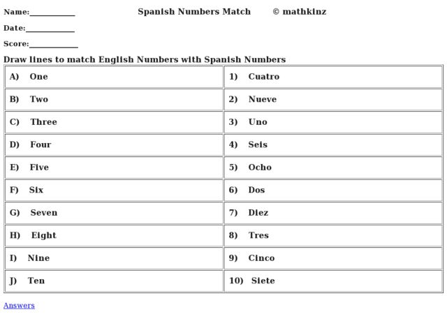 Worksheet Spanish Calendar Worksheets spanish number match 1st 3rd grade worksheet lesson planet