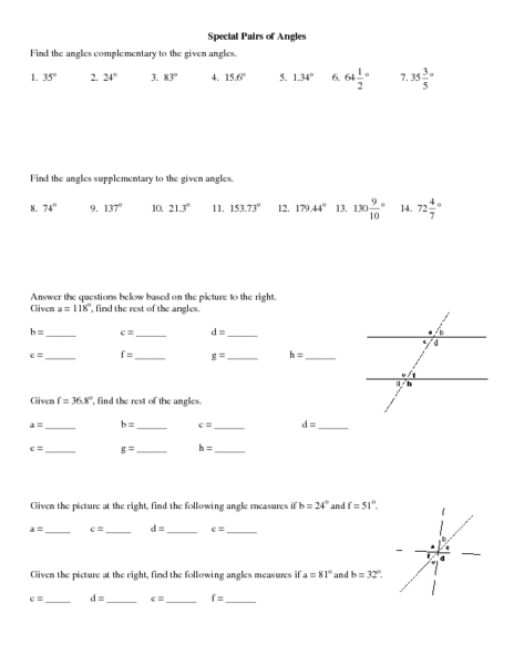 Worksheets Angle Pairs Worksheet angle pairs worksheets complementary angles worksheet precommunity printables worksheets