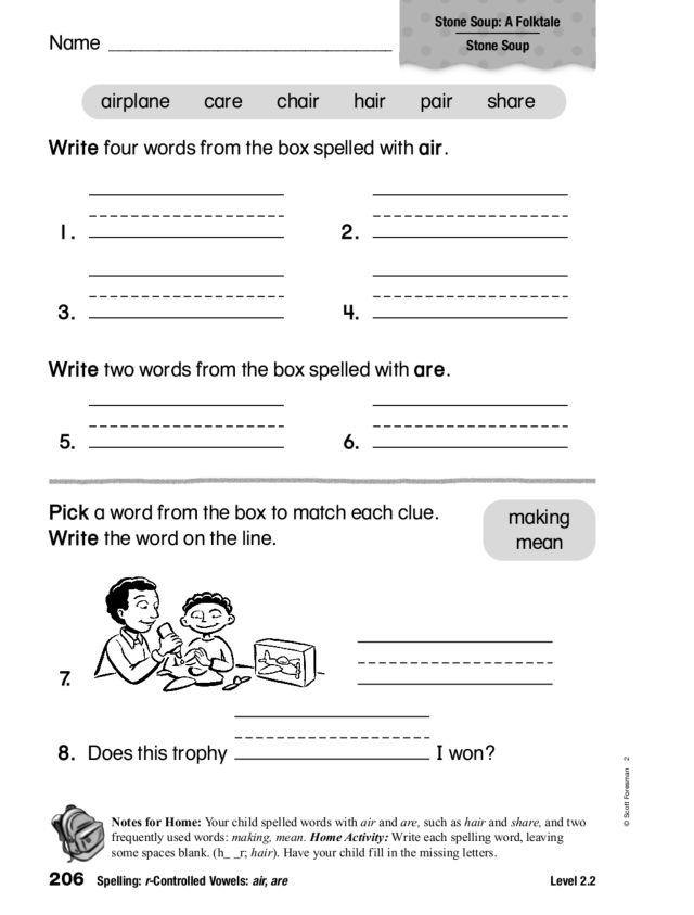 Spelling rControlled Vowels air are 1st 2nd Grade Worksheet – R Controlled Vowels Worksheet