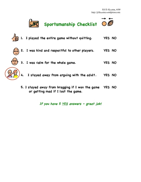 Sportsmanship Checklist 2nd - 3rd Grade Worksheet | Lesson Planet