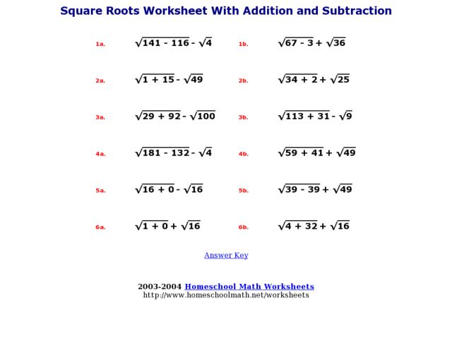 Printables Square Root Worksheets 8th Grade square roots worksheet with addition and subtraction 6th 8th grade lesson planet