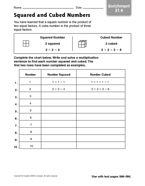 Squared and Cubed Numbers 3rd - 4th Grade Worksheet | Lesson Planet