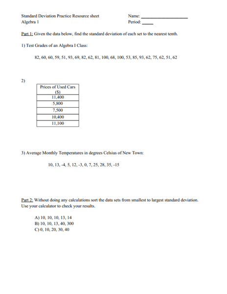 Printables Standard Deviation Worksheet standard deviation worksheet pichaglobal practice 9th 12th grade lesson planet