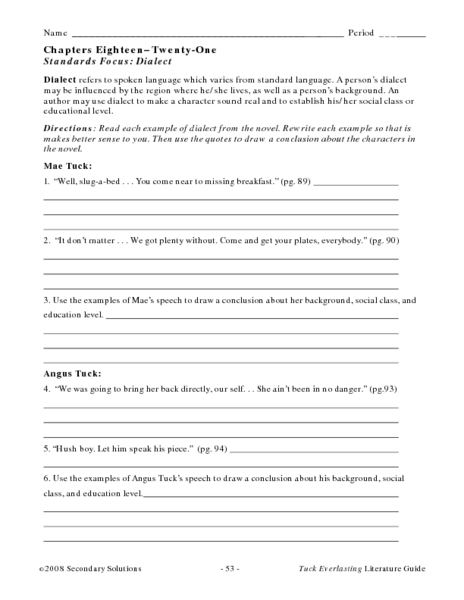 Printables Tuck Everlasting Worksheets standards focus dialect in tuck everlasting 6th 10th grade lesson plan planet