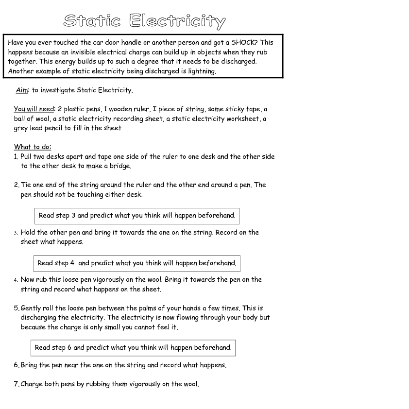static electricity worksheet  Termolak